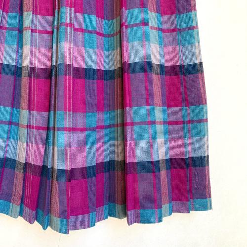 80's Retro Old Unique Tone Tartan Check Summer Fabric Design Pleats Skirt_a0182112_12235032.jpg