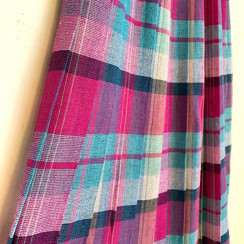 80's Retro Old Unique Tone Tartan Check Summer Fabric Design Pleats Skirt_a0182112_12235379.jpg