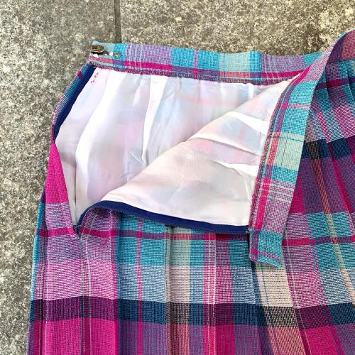 80's Retro Old Unique Tone Tartan Check Summer Fabric Design Pleats Skirt_a0182112_12235513.jpg
