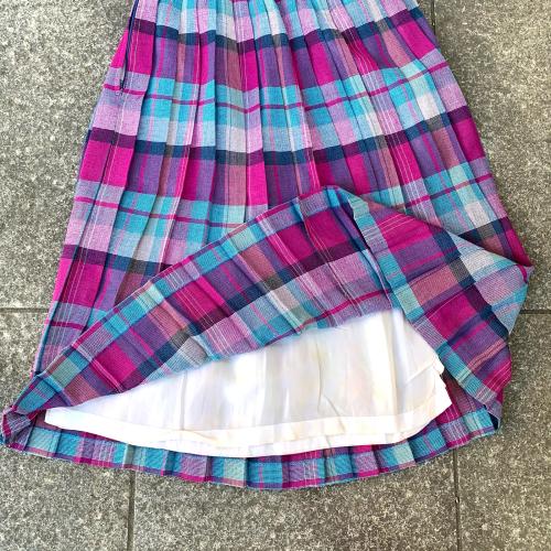 80's Retro Old Unique Tone Tartan Check Summer Fabric Design Pleats Skirt_a0182112_12241215.jpg