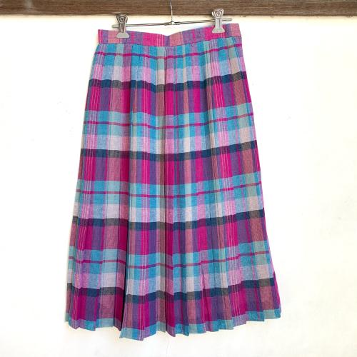 80's Retro Old Unique Tone Tartan Check Summer Fabric Design Pleats Skirt_a0182112_12241412.jpg