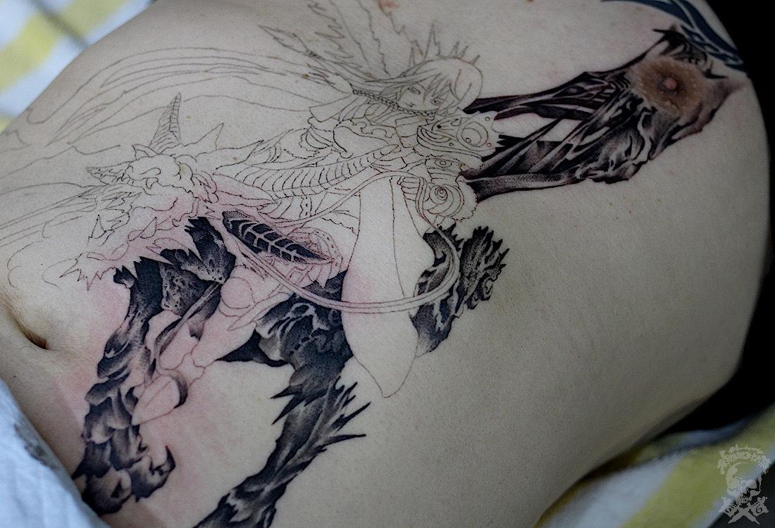 ストマックタトゥー・騎竜女子戦士✨_a0148054_21485389.jpg