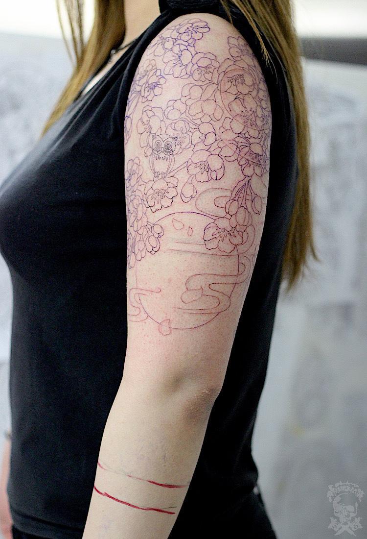 左腕七分・八重桜と月_a0148054_21485475.jpg