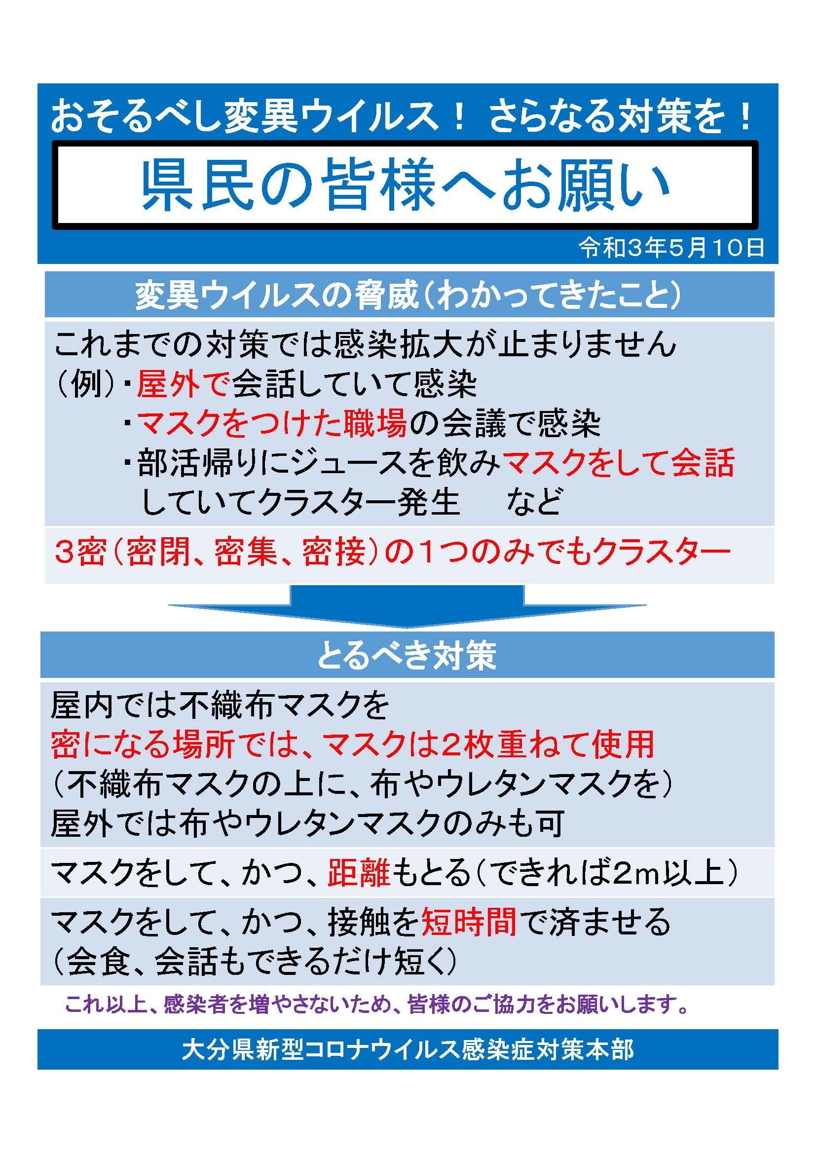 大分県より新型コロナウイルス感染拡大防止にかかる県民へのお願い_d0070316_22264402.jpg
