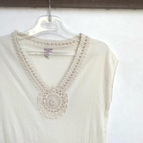 80's Retro Hand made in CYPRUS BALKAN Natural Wrinkle Cotton Design Lace Ethnic Dress _a0182112_12270228.jpg