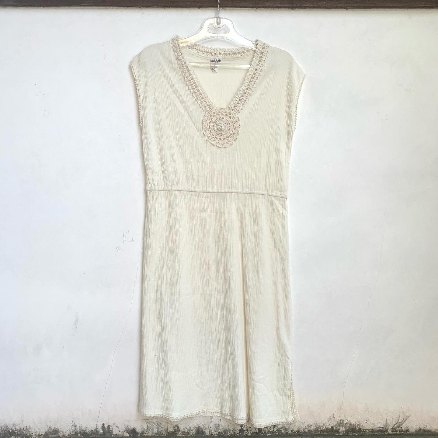 80's Retro Hand made in CYPRUS BALKAN Natural Wrinkle Cotton Design Lace Ethnic Dress _a0182112_12270364.jpg