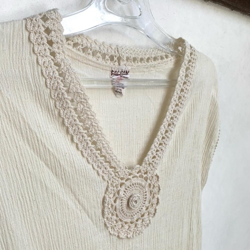 80's Retro Hand made in CYPRUS BALKAN Natural Wrinkle Cotton Design Lace Ethnic Dress _a0182112_12270548.jpg