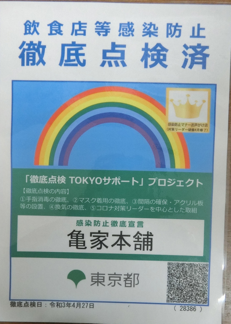 5月18日(火)先日『徹底点検TOKYOサポー』プロジェクトの証が届きました_d0278912_21075968.jpg