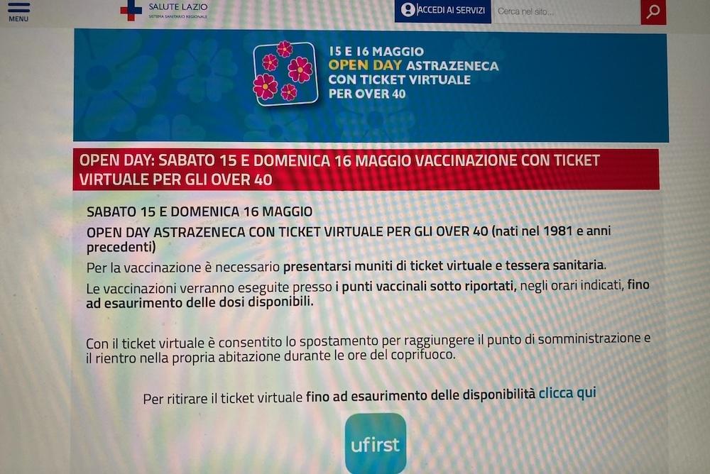 ラツィオ州40代のワクチン接種オープンデイと52歳と53歳の予約受付。 - ローマより愛をこめて