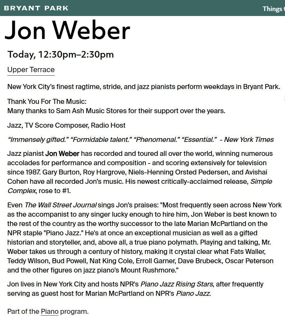 ニューヨーク市最高のジャズ・ピアニスト、ジョン・ウェーバー(Jon Weber)さんによる無料ピアノ演奏会_b0007805_20483005.jpg