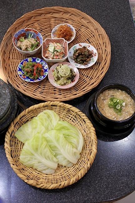 花豆五穀ご飯と春キャベツのサンパプ(韓国風包みご飯)_a0223786_13521674.jpg