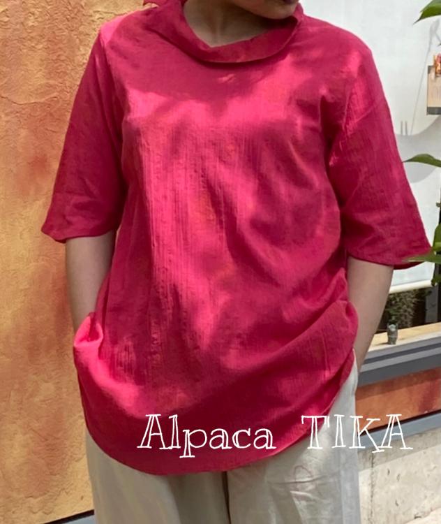 コットンのピンク色ブラウス・バティックレーヨンパンツ入荷しました_d0187468_15100337.jpg