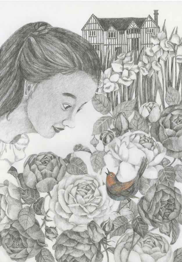 今日の絵「秘密の花園」_a0138978_12285398.jpg
