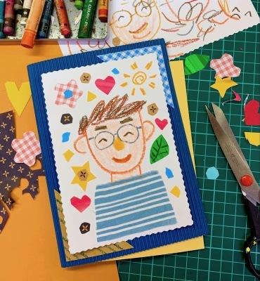 貼り絵で父の日のメッセージカード作り☆_b0181015_17415652.jpg
