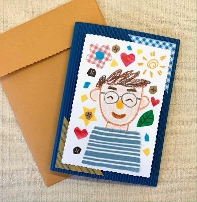 貼り絵で父の日のメッセージカード作り☆_b0181015_17421985.jpg