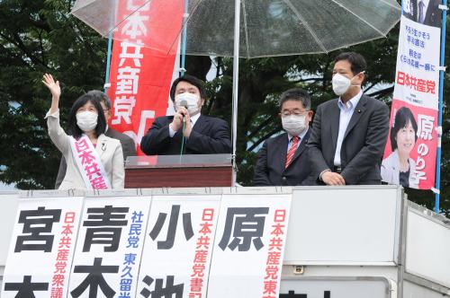 共産党街頭演説 原のり子の訴え(上)_b0190576_00415748.jpg