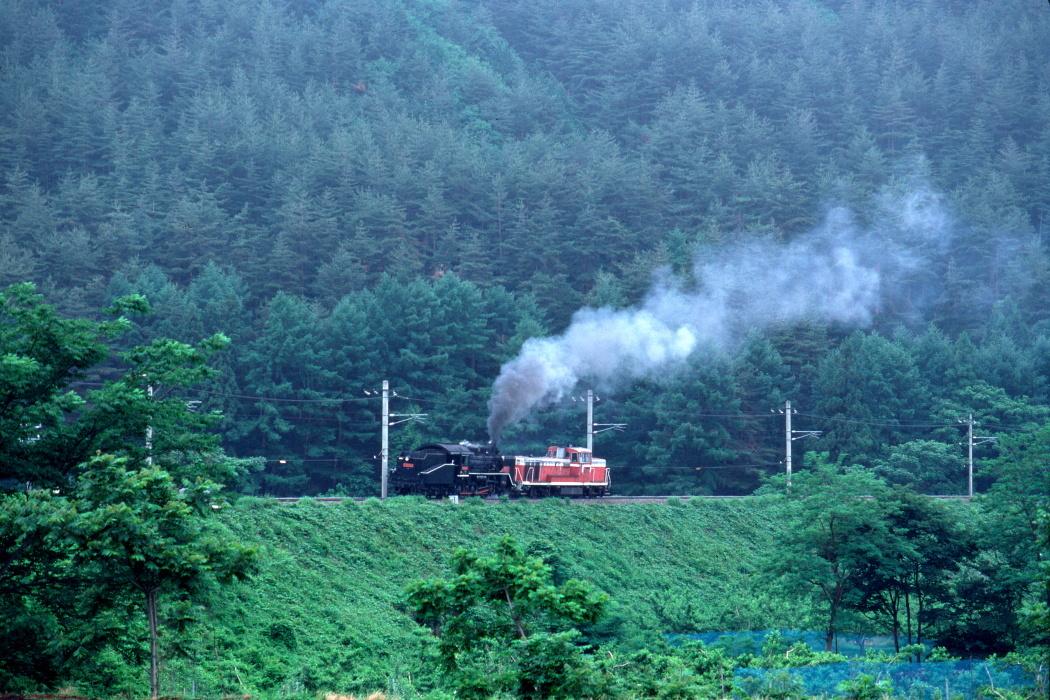 6月の善知鳥峠の築堤に白煙 - 中央本線・1988年 -_b0190710_19401334.jpg