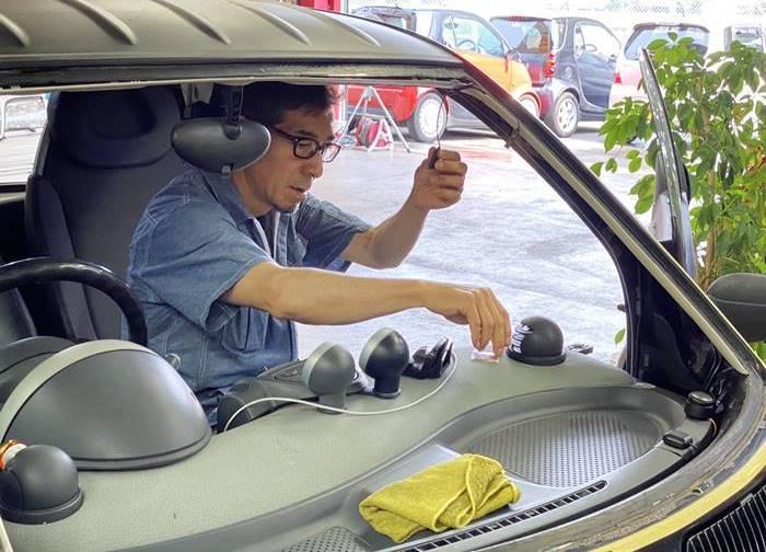 MCCスマート 450K フロントガラスに飛び石/MC012お車検_d0345614_21282332.jpg