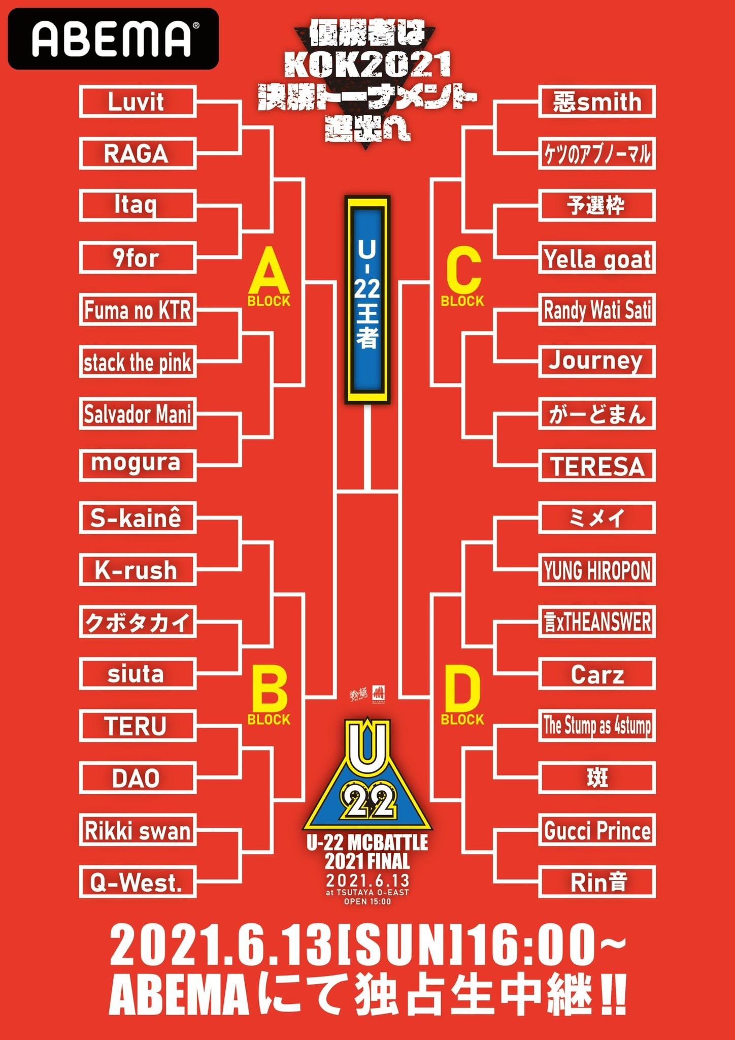 6/13 U-22 MCBATTLE 2021 FINAL abemaで無料配信_e0246863_19254022.jpg