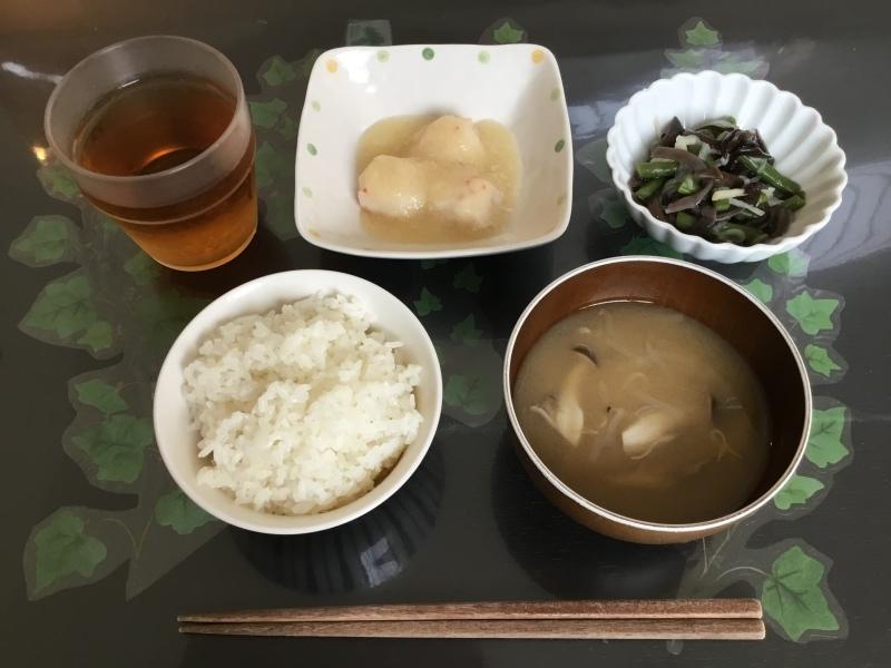 しらゆり荘 朝食 :  カニつみれ、インゲンと木耳の和え物、ご飯、味噌汁_c0357519_07030468.jpeg