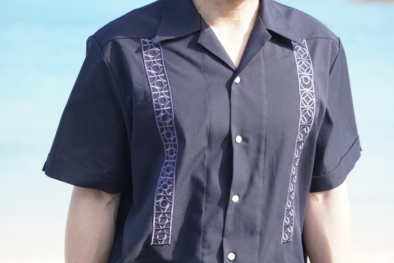 花ブロック 刺繍のキューバシャツ 県章入り_a0155932_12075641.jpg