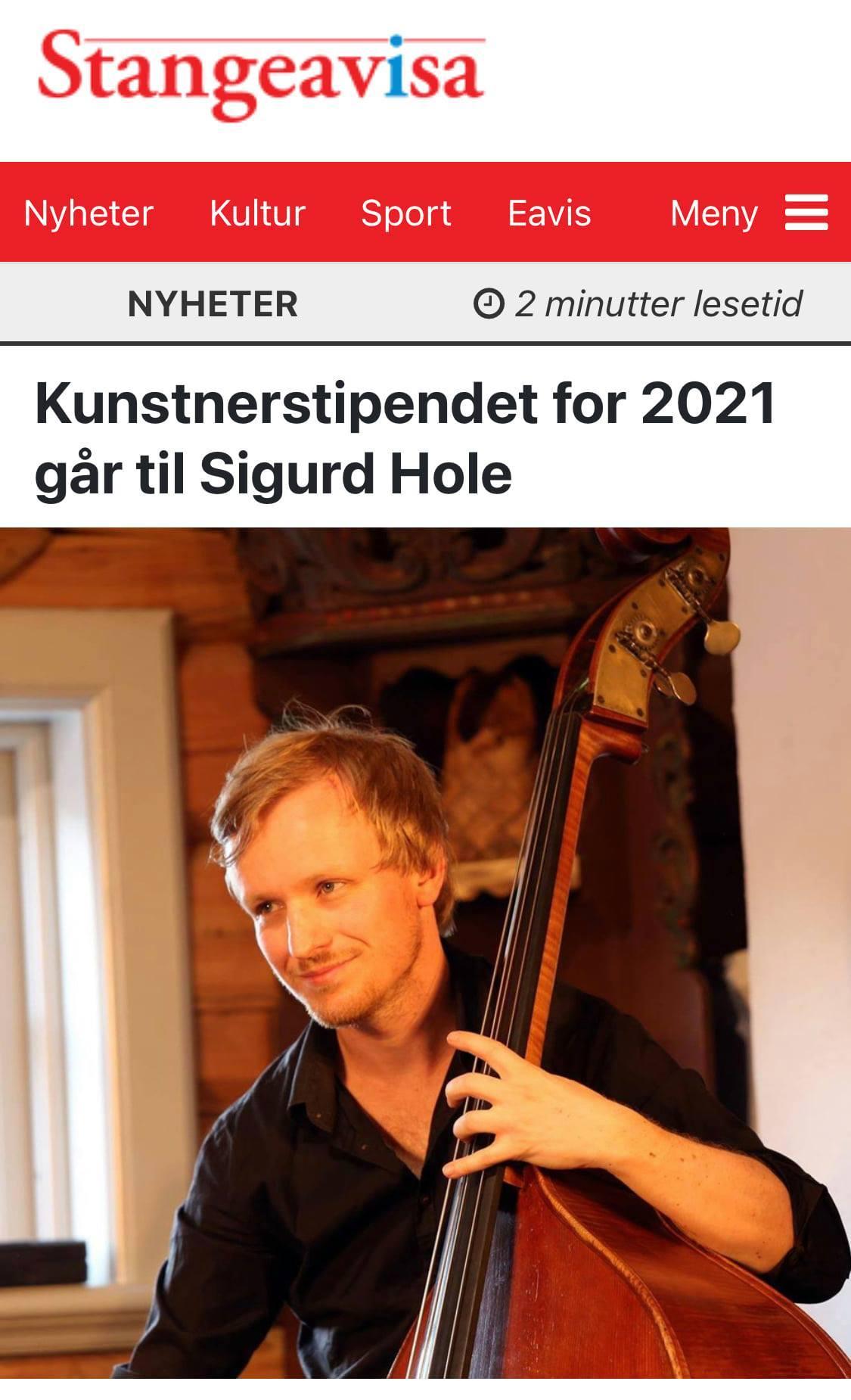 ノルウェー、ダブルベース奏者 Sigurd Hole (スィッガード・ホール)に奨学金_e0081206_08153516.jpg