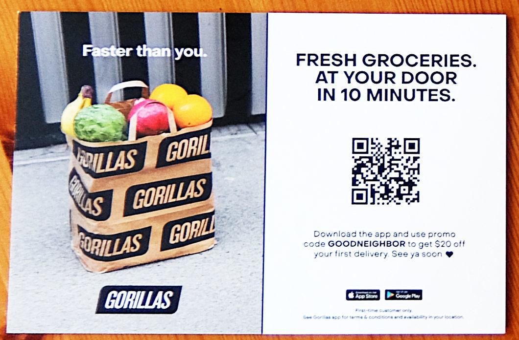 ドイツ生まれの「オンデマンド・グロッサリー・デリバリー」のゴリラス(Gorillas)、NYへ進出_b0007805_03593584.jpg