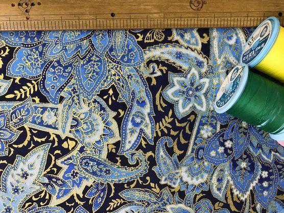 布「青いペイズリー・金ラメ」ロバート・カフマン_d0156706_11103074.jpg