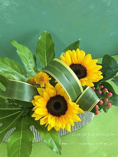 定期装花から ひまわり:サンリッチオレンジ_a0085317_18294478.jpeg