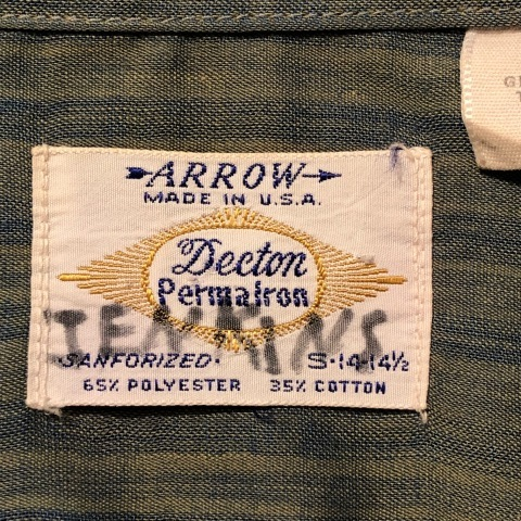 """1960-70s \"""" ARROW - MADE IN U.S.A - \"""" VINTAGE - Ombre STRIPE - L/S BOX-TAIL SHIRTS ._d0172088_18451623.jpg"""