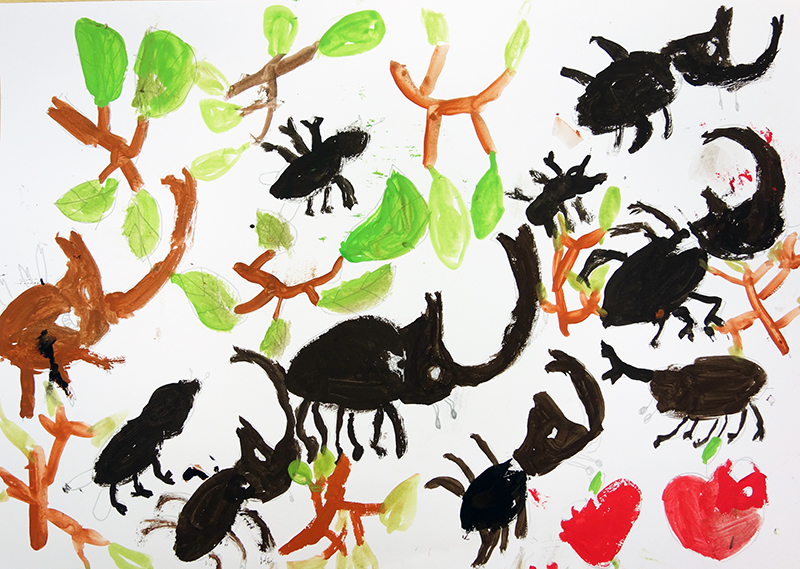 児童画クラス「カブトムシを描こう」_b0212226_11240803.jpg