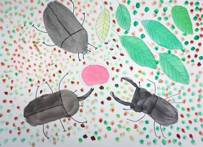 児童画クラス「カブトムシを描こう」_b0212226_11250442.jpg