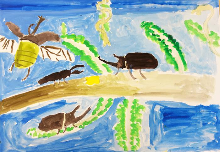 児童画クラス「カブトムシを描こう」_b0212226_11260591.jpg