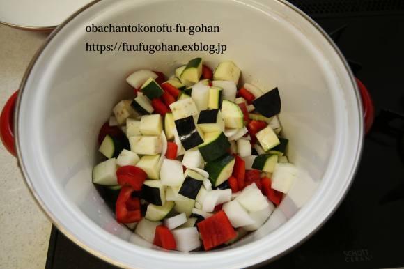 夏野菜のトマトソース煮&朝ごぱん&月曜鮭弁当は、渦巻き寿司_c0326245_11365361.jpg