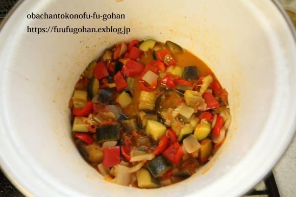 夏野菜のトマトソース煮&朝ごぱん&月曜鮭弁当は、渦巻き寿司_c0326245_11370285.jpg