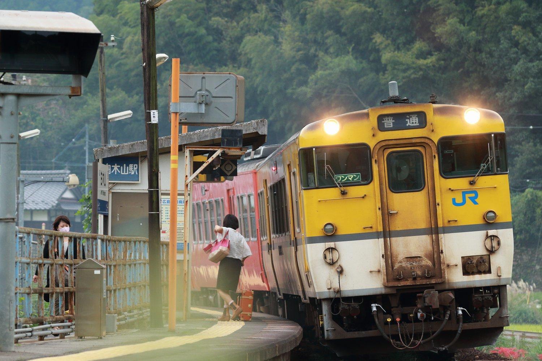 昔、機関区・駅で出会った車輌達(182)芸備線 白木山駅 上り3822D普通列車