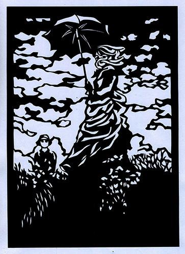 切り絵『日傘の女性・モネ夫人』_a0115549_22430936.jpg