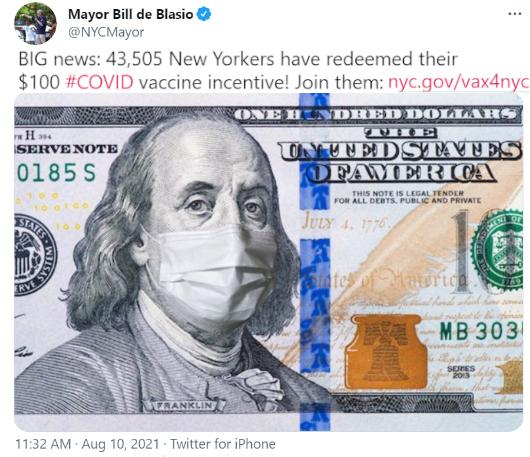 NY市のワクチン接種促進策、シンプルに100ドルもらえるのが一番効果的?_b0007805_00254294.jpg