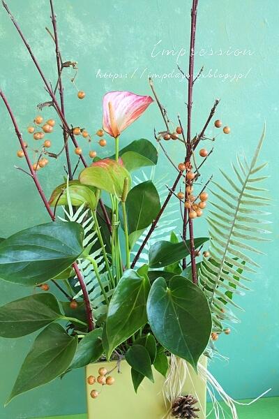 定期装花から:プランツアレンジ_a0085317_15124783.jpg