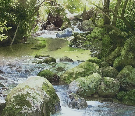 8月に行った奥多摩散策の取材で描いた渓流_e0309795_19124064.jpg