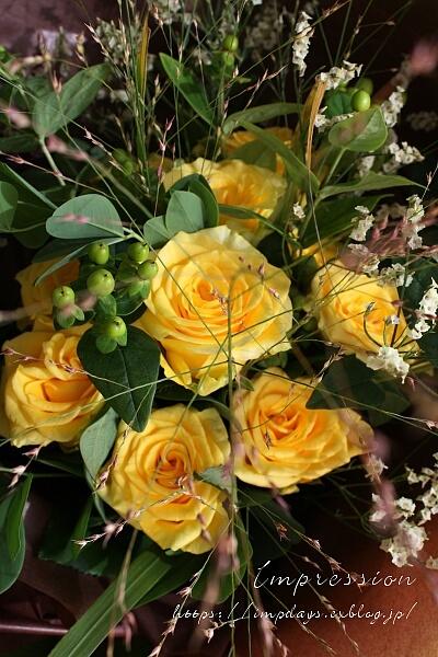 米寿のお祝い 黄色のバラの花束_a0085317_21055324.jpg