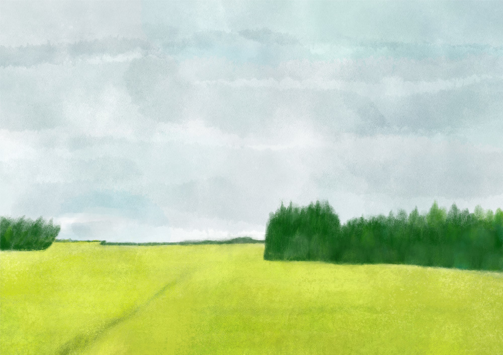 今日の絵「黄金色の道」_a0138978_17565936.jpg