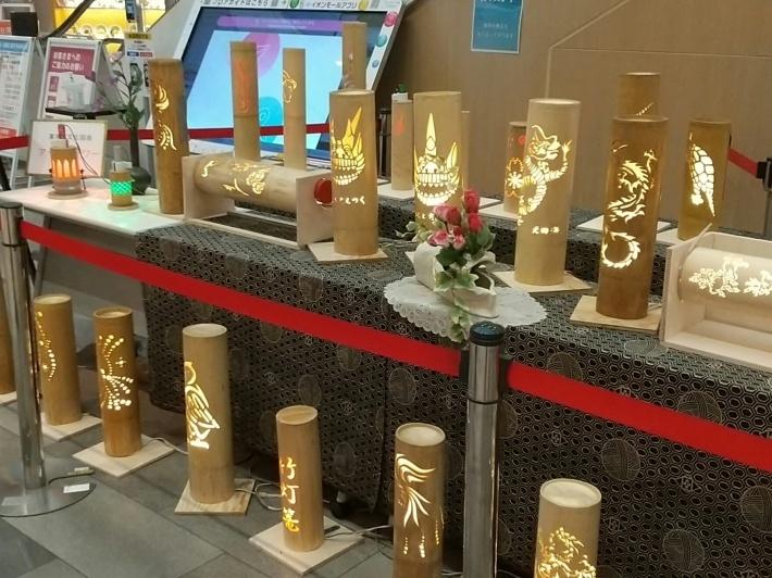 イオンで素晴らしい竹灯籠の作品展示_d0247833_17282604.jpg