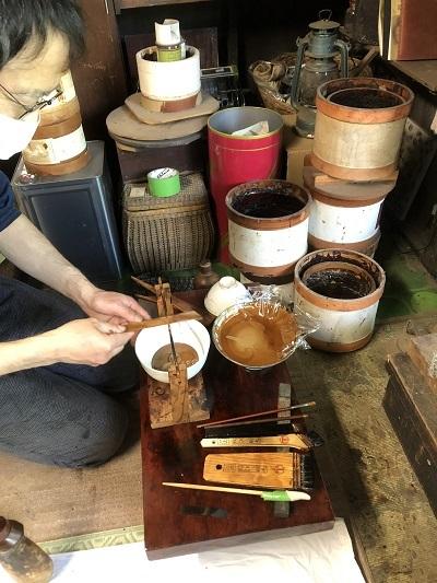 コーヒーテーブルに漆が塗られるまで、その1_c0022913_18011373.jpg