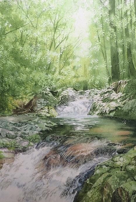 8月に行った奥多摩散策の取材で描いた渓流_e0309795_10533924.jpg