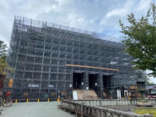 金峯山寺蔵王堂で防火設備の工事が行われております。_e0154524_18330252.jpeg