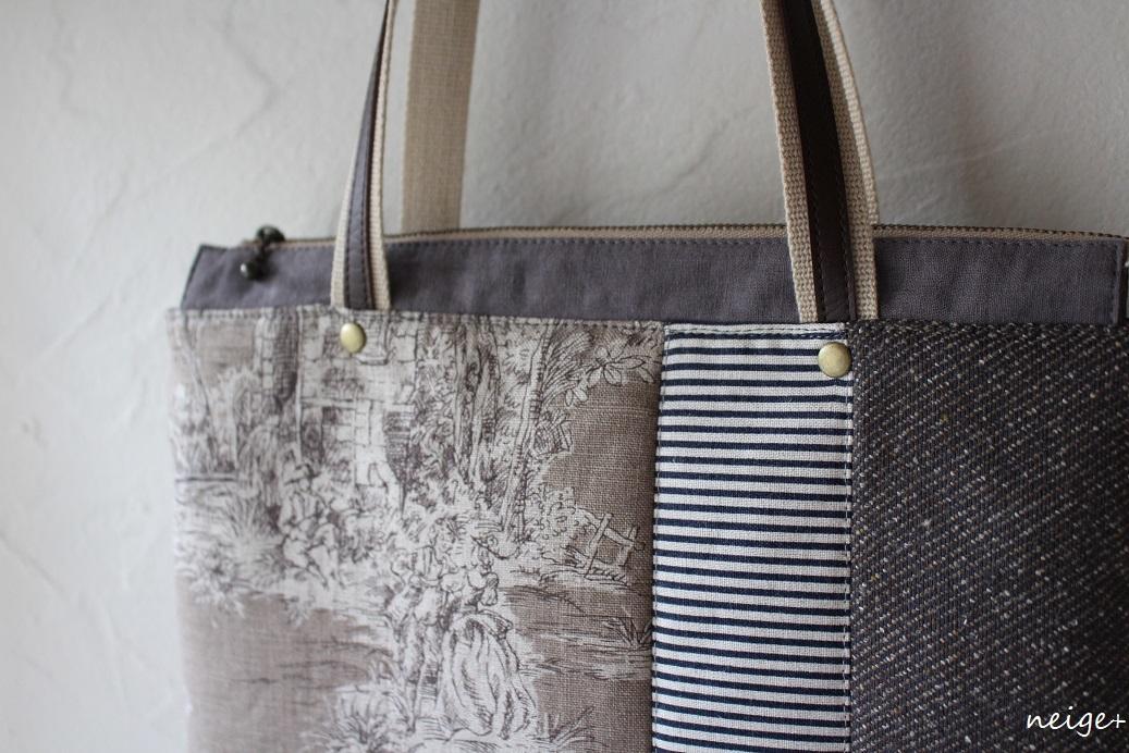 YUWAトワルドジュイ柄で作る秋色トートバッグ♪内ポケットがいっぱいです_f0023333_18530572.jpg