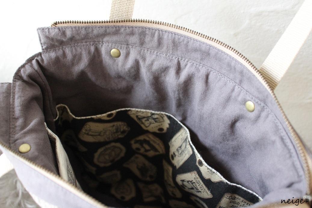 YUWAトワルドジュイ柄で作る秋色トートバッグ♪内ポケットがいっぱいです_f0023333_18530594.jpg