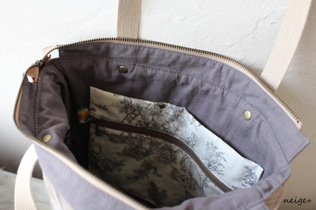 YUWAトワルドジュイ柄で作る秋色トートバッグ♪内ポケットがいっぱいです_f0023333_18530665.jpg