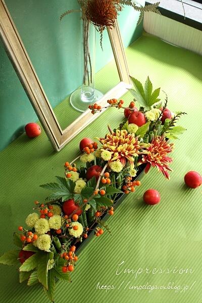 定期装花から ツルウメモドキ_a0085317_13485008.jpg